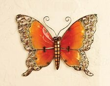 Scrolled Metal Glass BUTTERFLY Wall Art Indoor Outdoor Home Garden Decor