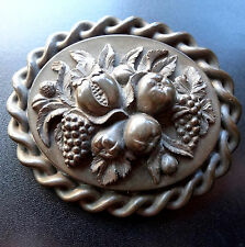 antique Victorian carved pomegranate fruit vulcanite mourning brooch pin -C224
