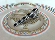 Mens or Boys 4CM Tie Bar -Silver & Black Stripe- Skinny Stainless Steel Clip Pin