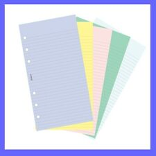 Filofax Personal Assorted Coloured Notepaper Plain & Ruled Refill Insert 130502