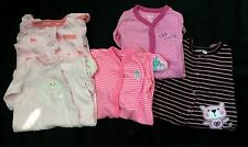 Carters, Disney, Etc Baby Girl Sleepers Pajamas.. Size 0-3 Months. Lot (5)