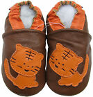 carozoo soft sole leather baby shoes tiger brown 12-18m