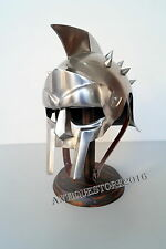 Roman Gladiator Helmet Meideval Face Mask Steel Handmade With Wooden Stand Gift