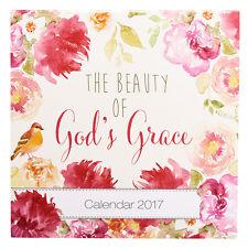 2017 Wall Calendar BEAUTY OF GOD'S GRACE Christian Bible Scripture Floral Flower