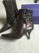 LADIES STUART WEITZMAN Patent Mock Croc ANKLE BOOTS SIZE 4.5-5 UK