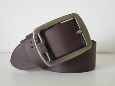 NEW MENS 100% REAL GENUINE LEATHER BELT COFFEE BRUSHED ALLOY BUCKLE 34""