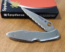 SPYDERCO New Stainless Steel Police Fully Serrated VG-10 Blade Knife/Knives