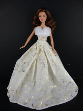 A Set of Two Christmas Gowns in Green and Ivory and Gold  Made to Fit Barbie