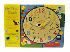 KIDS CHILDRENS WOODEN TEACH TIME MY FIRST CLOCK SHAPE PUZZLE JIGSAW LEARNING TOY