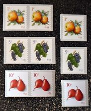 2016USA #5038 5039 1c 5 10 Apples Grapes Pears - Coil Set of 6 Singles Pairs