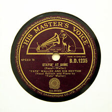 "FATS WALLER & RHYTHM ""Stayin' At Home / Little Curly Hair"" HMV BD-1235 [78 RPM]"