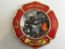 """2002 The Bradford Exchange Fire Dept. May by Glen Green Red Plate, 6"""" Dia"""