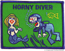 HORNY DIVER SCUBA DIVING PATCH - GAG GIFT MERMAID HUMOR EMBROIDERED IRON-ON DIVE