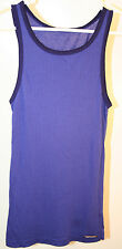 THE GREAT CHINA WALL NEW Dark Blue Tank Top Black trim 100% Cotton Size S/XS