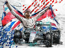LEWIS HAMILTON MERCEDES F1 ART ROTONDO RACING ARTWORK SKETCH PRINT LITHOGRAPH