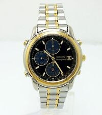 MEN'S SEIKO 7T32 ALARM TWO-TONE STAINLESS WATCH - CHRONOGRAPH, TACHYMETER & DATE
