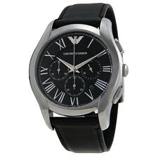 Armani Chronograph Black Dial Steel Case Black Leather Strap Mens Watch AR1700