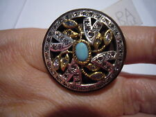 Signed Gara Danielle Large Chunky Runway Turquoise Wooden Fancy Ornate Ring