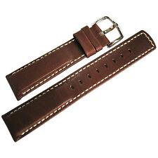 22mm Hirsch Mariner Mens Brown Waterproof Leather White Stitch Watch Band Strap