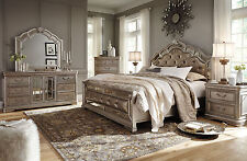 ALEX - 5pcs Old World Silver Queen Grand Mansion Faux Leather Panel Bedroom Set