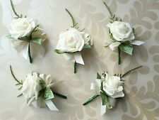 5 ROSE BUTTONHOLES - IVORY FOAM ROSES & BOWS