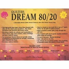 Quilters Dream 80/20 Blend Cotton -Poly Batting Throw Size~Natural Color