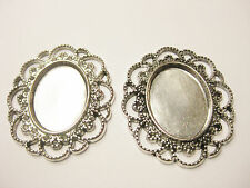4pcs x Cameo Cabochon Setting Silver Plated with Fancy Edging 25 x 18