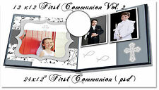 "Photoshop Templates for First Communion Photo Book 8x12"",12x12 Vol 2"