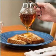 200ML Acrylic Clear Glass Handle Drip Syrup Honey Dispenser Pot Container Holder