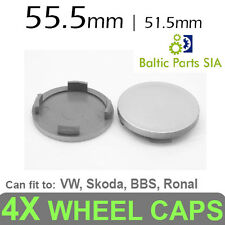 4X WHEEL CENTER CAPS 55.5mm grey. Fit to VW, Skoda, BBS, Ronal, and other wheels