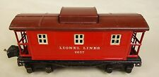 "LIONEL PRE-WAR #2657 ""LIONEL LINES"" RED CABOOSE WITH MAROON ROOF-GOOD ORIG!"