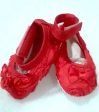 Baby Girl Valentine Red Rosette Shoes - Size 0-6 Months.
