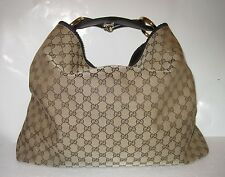 GUCCI Monogram Canvas Leather Horsebit- Large Hobo Bag Brown/Tan-AUTHENTIC