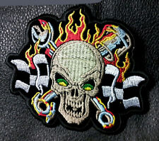 SKULL WRENCH MECHANIC EMBROIDERED 4 INCH IRON ON MC BIKER  PATCH