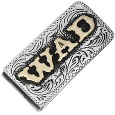 Sterling Silver Gold Multi Initials Custom Hand Engraved Money Clip.