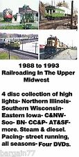 Train DVDs~BEST of 1988-93 4 pack DVDs in ILL, IA, WIS-4 hours CNW BN SOO ATSF++