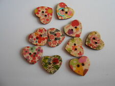 PACK 10 MIXED FLORAL HEART BUTTONS GREAT FOR  CARDS & CRAFTS