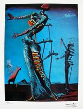 Salvador Dali BURNING GIRAFFE Facsimile Signed & Numbered Giclee LADY & DRAWERS