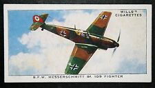 Messerschmitt BF109   Luftwaffe Fighter    Original Vintage Colour Card # VGC