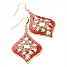 Red and Gold Drop Earrings with Mirror detail