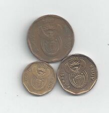 3 DIFFERENT COINS from SOUTH AFRICA - 10, 20 & 50 CENTS (ALL DATING 2008)