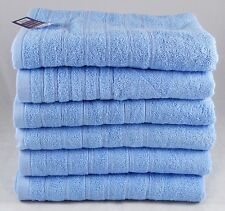 Sky Blue Face Towels Wash Cloths Flannels Egyptian Cotton 525 GSM Pack of 12