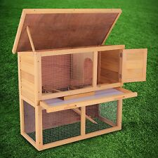 "36""Rabbit Hutch Wooden Chicken Coop Hen House Poultry Pet Cage Waterproof Wood"