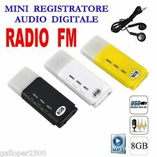 PENDRIVE USB 8GB SPIA REGISTRATORE MINI DIGITAL AUDIO RECORDER RADIO FM MP3 SPY