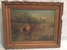 Antique 19th C. Primitive / Folk Oil on Canvas Cows Watering Painting