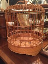 Antique Chinese Ornately Carved Bamboo And Wood Bird Cage, With Porcelain Feeder
