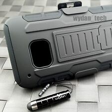 BLACK RUGGED HYBRID HARD CASE COVER HEAVY DUTY HOLSTER for HTC One M9 2015