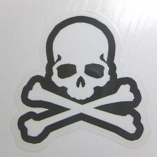 White Toxic Skull Transparent Sticker Skateboard Guitar Vinyl Decal Car Suitcase