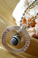 "Inhale Exhale Silver Spiral Eye Protection Pendant Necklace 18"" Meditation Yoga"