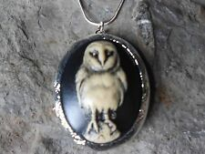 (LOCKET)- HALLOWEEN BARN OWL (HAND PAINTED) CAMEO LOCKET!! QUALITY- GIFTS